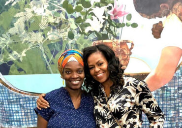 Ex-First Lady Michelle Obama visits Nigerian-born artist Njideka in her studio