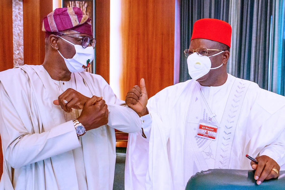 L-R: Lagos State Governor, Mr. Babajide Sanwo-Olu, exchanging greetings with his Ebonyi State counterpart, Engr. Dave Umahi during the National Food Security Council meeting at the Council Chamber, Presidential Villa, Abuja, on Thursday, September 10, 2020.