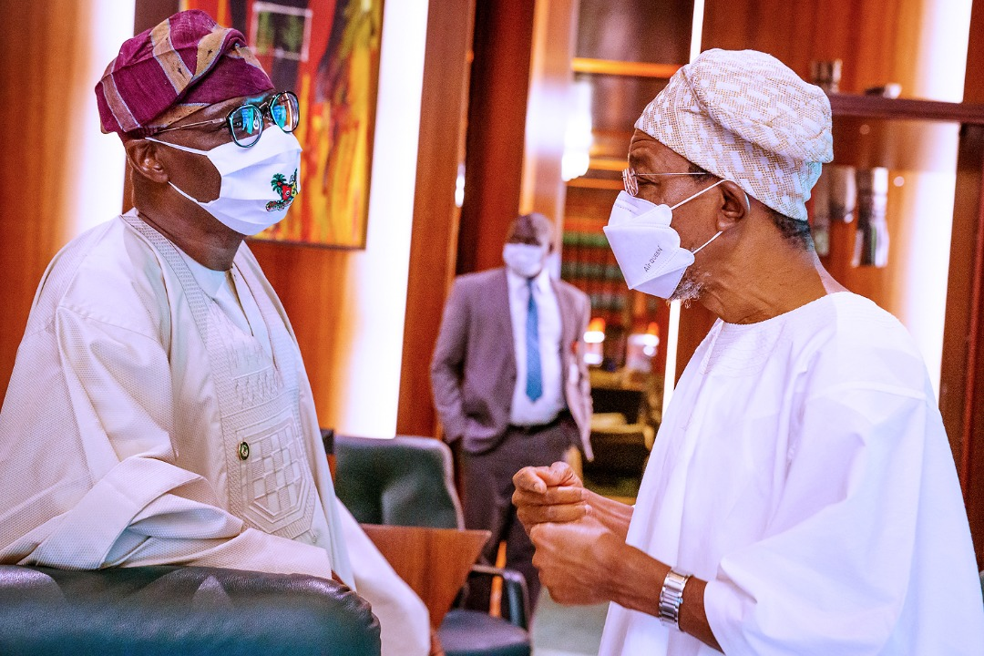 L-R: Lagos State Governor, Mr. Babajide Sanwo-Olu, with Minister of Interior, Ogbeni Rauf Aregbesola at the National Food Security Council meeting, Presidential Villa, Abuja, on Thursday, September 10, 2020