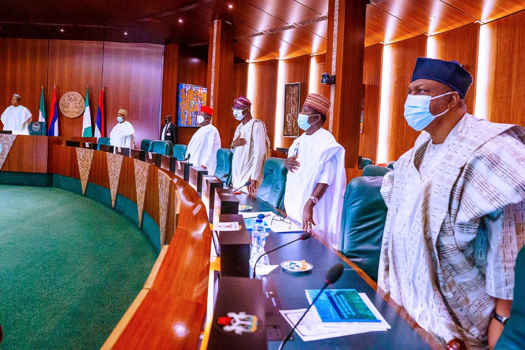 L-R:  President Muhammadu Buhari; Governors, Alhaji Atiku Bagudu (Kebbi); Engr. Dave Umahi (Ebonyi); Mr. Babajide Sanwo-Olu (Lagos) and Barr. Simon Lalong (Plateau) during the National Food Security Council meeting, at the Council Chamber, Presidential Villa, Abuja, on Thursday, September 10, 2020.