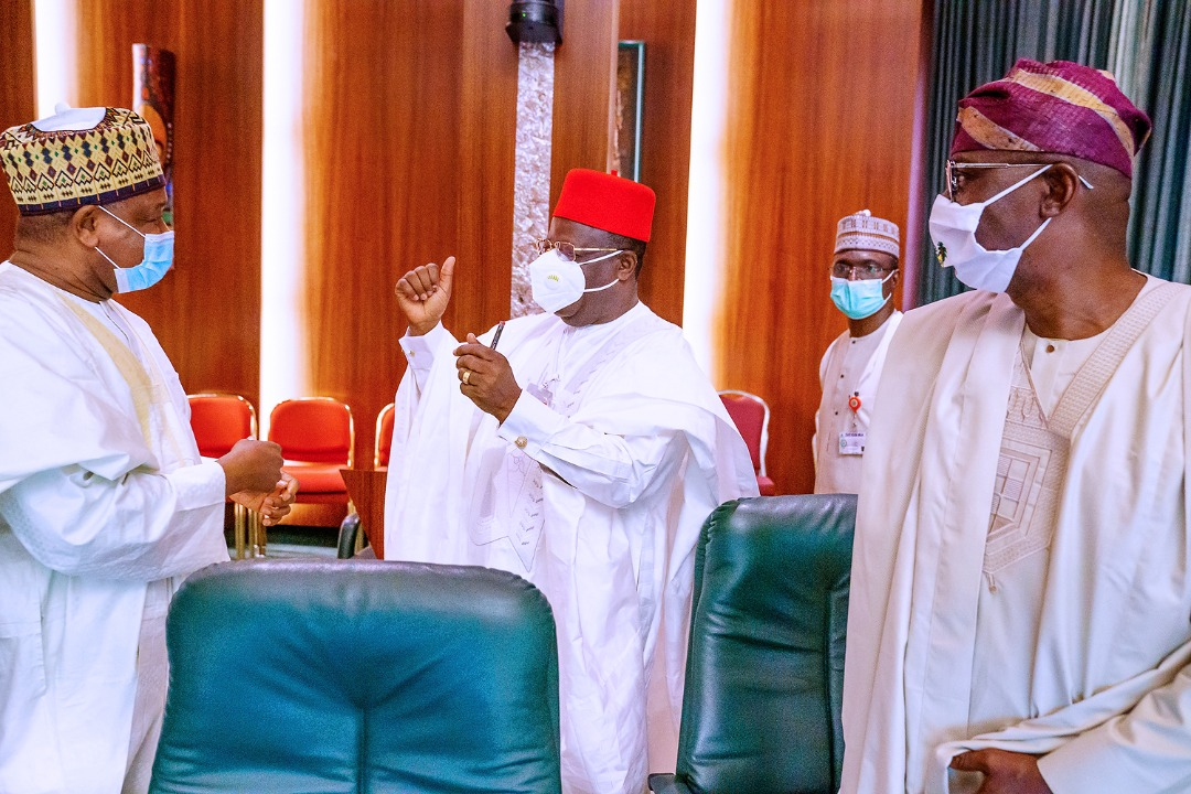 L-R: Governors - Alhaji Atiku Bagudu (Kebbi); Engr. Dave Umahi (Ebonyi) and Mr. Babajide Sanwo-Olu (Lagos) during the National Food Security Council meeting, at the Council Chamber, Presidential Villa, Abuja, on Thursday, September 10, 2020.