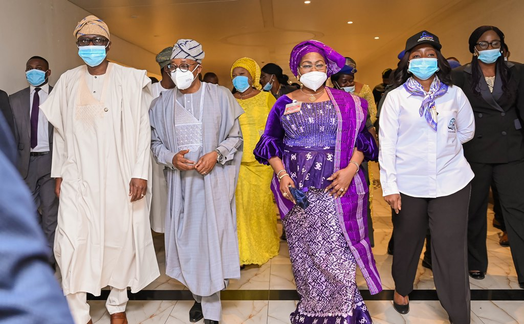 L-R: Lagos State Governor, Mr Babajide Sanwo-Olu, his Osun State counterpart, Alhaji Gboyega Oyetola; his wife, Kafayat and First Lady of Lagos State, Dr. (Mrs.) Ibijoke Sanwo-Olu, during the opening ceremony of the virtual 2-day National Women Conference of the Committee of Wives of Lagos State Officials (COWLSO) held at Eko Hotels and Suites, Victoria Island, Lagos, on Wednesday, October 14, 2020.