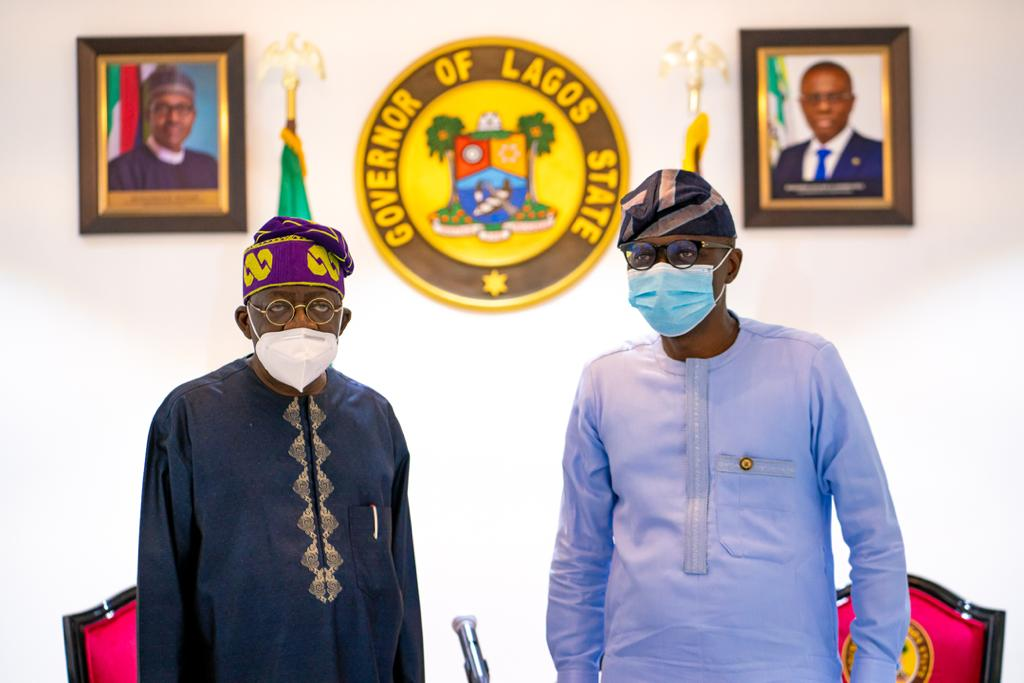 National Leader of the All Progressives Congress (APC), Asiwaju Bola Tinubu (left) with Lagos State Governor, Mr. Babajide Sanwo-Olu, during his condolence visit to the Governor at Lagos House, Marina, on Saturday, October, 24, 2020.