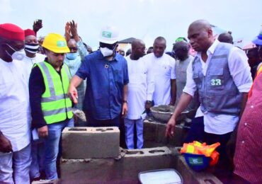 PHOTO NEWS :Governor Hope Uzodimma (3rd left) performing the ground breaking foundation ceremony of Eke Ukwu Market, Owerri. With him are: Deputy Governor, Prof Placid Njoku (left),CEO Amandar Construction Company (2nd left), Commissioner for Commerce and Industry Hon Simon Ebegbelem (4th right) on Monday