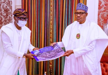 PICTURES: GOV. SANWO-OLU PRESENTS PICTORIAL REPORT OF THE AFTERMATH OF ENDSARS PROTEST IN LAGOS TO PRESIDENT BUHARI IN ABUJA, ON FRIDAY, NOVEMBER 6, 2020